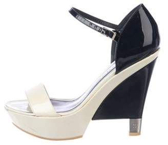 Chanel Patent Leather Platform Sandals Navy Patent Leather Platform Sandals