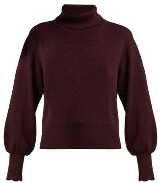 See by Chloe Scallop Trimmed Wool Knit Sweater - Womens - Burgundy