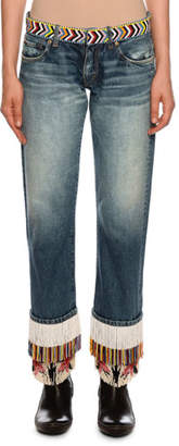 Alanui Fringe-Beads Straight-Leg Boyfriend Jeans