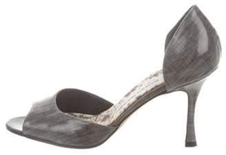 Manolo Blahnik Printed D'Orsay Sandals Grey Printed D'Orsay Sandals