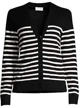 Kate Spade Women's Broome Street Heart Patch Stripe Wool-Blend Cardigan