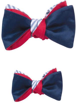 Cinabre Father & Son Satin & Striped Seersucker Reversible Bow Tie Set