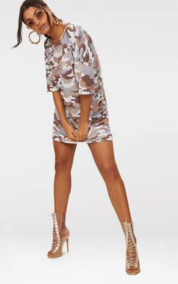 PrettyLittleThing Camel Camo T-Shirt Dress
