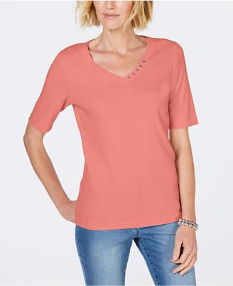 Karen Scott Cotton V-Neck T-Shirt