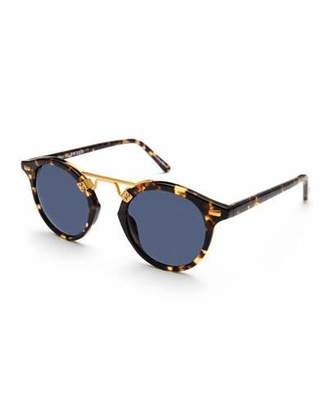 KREWE St. Louis Polarized Round Sunglasses, Bengal Blue $295 thestylecure.com