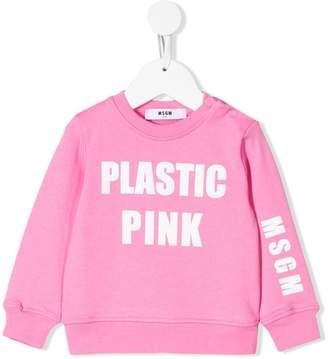 MSGM Kids Plastic Pink sweatshirt