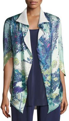 Neiman Marcus Christine Designs Gatsby Floral-Print Short Shawl Robe, Multi Pattern