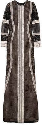 Naeem Khan Embellished Embroidered Tulle Gown - Black