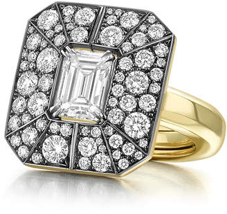 Jessica McCormack One-Of-A-Kind Emerald Cut Diamond Ring With Pave Diamond Jacket