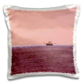 3dRose Florida Shrimper In Dusty Rose Sunset - Pillow Case, 16 by 16-inch