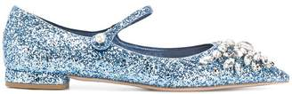 Miu Miu glittered ballerina shoes