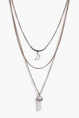 boohoo Crystal Moon Layered Necklace