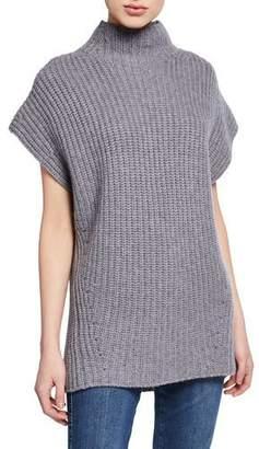 St. John Funnel-Neck Short-Sleeve Cashmere Sweater