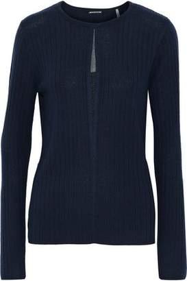 Elie Tahari Lyndi Metallic Tulle-Trimmed Ribbed Merino Wool Sweater