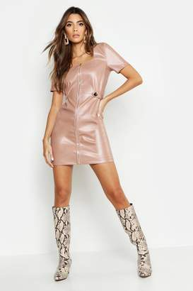 d444d630f04 boohoo Zip Front Leather Look Mini Dress