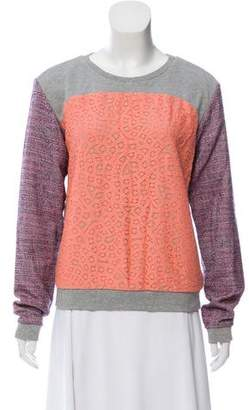 Rebecca Minkoff Lace-Accented Long Sleeve Sweatshirt