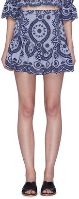 LoveShackFancy 'Elize' graphic embroidered peplum skirt