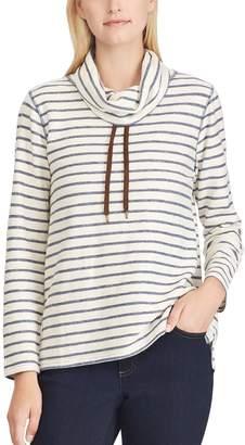 Chaps Petite Striped Cowlneck Top