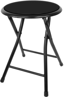 Trademark Home Folding Stool – Heavy Duty 18-Inch Collapsible Padded Round Stool with 300 Pound Capacity for Dorm