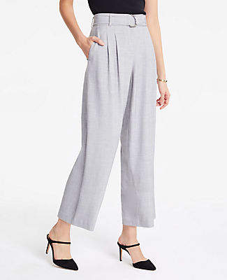 Ann Taylor Belted Fluid Wide Leg Crop Pants