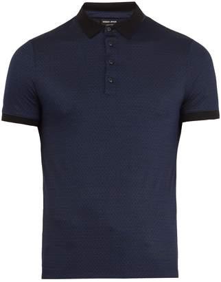 Giorgio Armani Geometric-pattern silk polo shirt