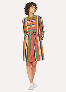 Paul Smith Women's Multi-Colour Stripe Henley Shirt Dress