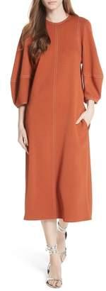 Tibi Balloon Sleeve Crepe Knit Midi Dress