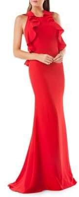 Carmen Marc Valvo Ruffled Evening Gown