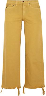 Salado Cropped Frayed Low-rise Wide-leg Jeans - Saffron