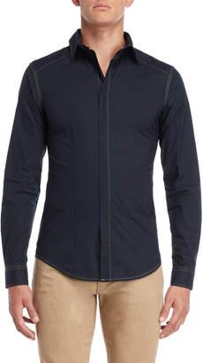 Armani Jeans Navy Slim Fit Zip Shirt