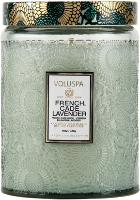 Voluspa Japonica French Cade Lavender Large Embossed Glass Jar Candle