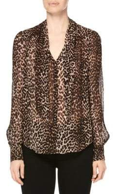 Paige Cleobelle Leopard Silk V-Neck Blouse