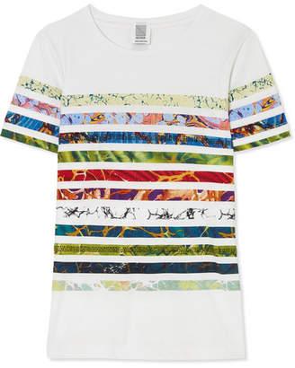 Rosie Assoulin Swarovski-embellished Striped Cotton-jersey T-shirt - White
