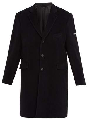 Balenciaga Single Breasted Wool Blend Coat - Mens - Black