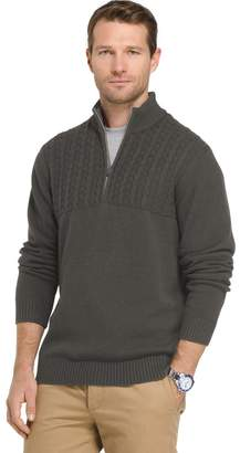 Izod Men's Newport Regular-Fit Cable-Knit Quarter-Zip Pullover