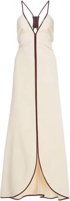 Victoria Beckham Leather-Trimmed Crepe Maxi Dress