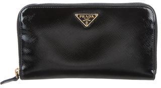pradaPrada Saffiano Vernice Zip Wallet