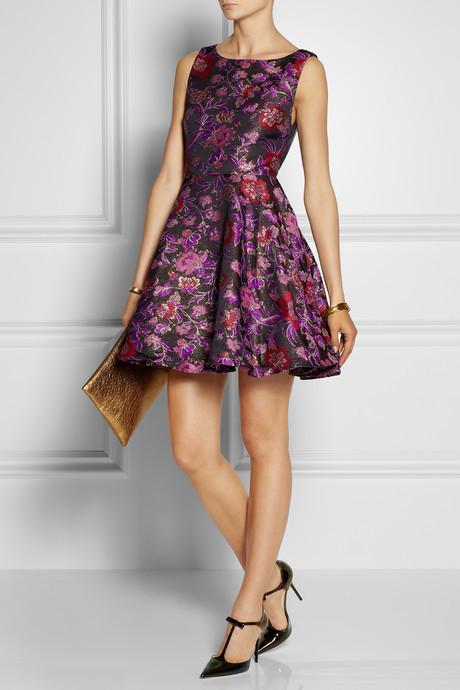 Alice + Olivia Foss cutout floral-brocade dress