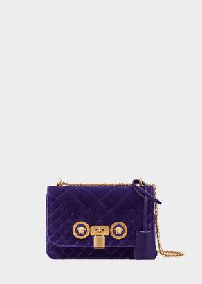 Versace Small Quilted Velvet Icon Shoulder Bag