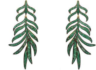 Latelita Feathered Leaf Statement Drop Earring Green Cz