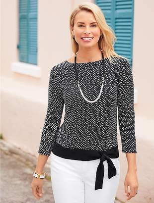 Talbots Dotted Side-Tie Boatneck Sweater
