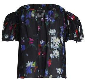 Milly Mimi Off-The-Shoulder Floral-Print Silk Top