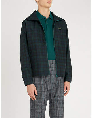 Lacoste Logo-embroidered checked shell jacket