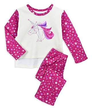 Sara's Prints Girls' Unicorn Pajama Shirt & Pants Set - Little Kid