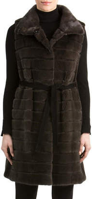 Gorski Mink Fur Vest with Suede Belt