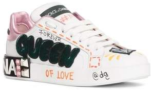 Dolce & Gabbana Queen Graffiti Lace-Up Sneaker