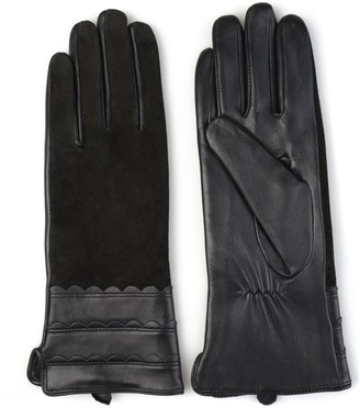 Journee Collection Women's Microfiber-Lined Leather & Suede Gloves