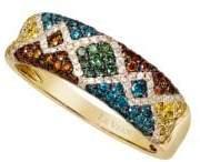 LeVian Exotics Vanilla Diamond, Blueberry Diamond, Cherryberry Diamond, Goldenberry Diamond, Kiwiberry Green Diamond and 14K Honey Gold Ring