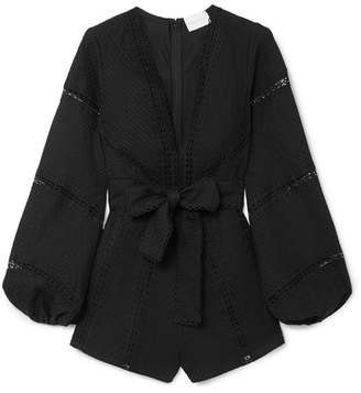 Alice McCall A Foreign Affair Crochet-paneled Pintucked Cotton Playsuit - Black