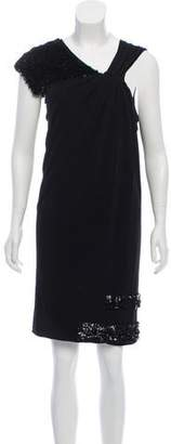 Yigal Azrouel Leather Embellished Knee-Length Dress